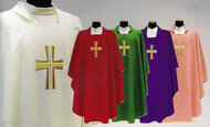 Square Collar with Inside Stole. Primavera (100% Polyester). Embroidery on the Front Only. Available in White, Red, Green and Purple. Also Available: Pure Italian Silk Chasuble, Overlay Stole, Dalmatic and Deacon Stole. Pure Italian Silk Option (652CH/PS).These items are imported from Europe. Please supply your Institution's Federal ID # as to avoid an import tax. Please allow 3-4 weeks for delivery if item is not in stock