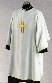 Dalmatic with Plain Neckline ~ Embroidered Cross on Front Only. Inside Stole. Primavera (100% Polyester). Available in five colors: White, Red, Green, and Purple. Also Available: Chasuble(in Primavera Fabric or Pure Italian Silk), Overlay Stole, and Deacon Stole. These items are imported from Europe. Please supply your Institution's Federal ID # as to avoid an import tax.  Please allow 3-4 weeks for delivery if item is not in stock