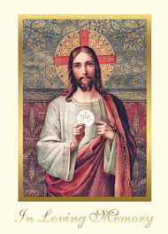 "Sacred Heart of Jesus Mass Cards. 50 ct. FOR CHURCH USE ONLY!!!!! Deceased-With Sympathy. 4-7/8 x 6-3/4"" , 50 per box. Gold Foil Embossing Inside Verse: The Holy Sacrifice of the Mass will be offered for the repose of the soul of ________ Rev_______(bottom) With the sympathy of _________ (left side of page under Cross graphic)"