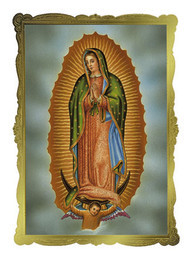 "Our Lady of Guadalupe Mass Card  4 1/2"" x 6 1/8"" 50 per box (Gold Foil Embossing) Inside Verse: The Holy Sacrifice of the Mass will be offered for the repose of the soul of ________ Rev_______(right side) Cross (graphic) With the sympathy of _________ (left side)"