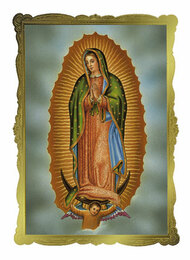 "Our Lady of Guadalupe Mass Card (Gold Foil Embossing) Tarjetas de Misa fallecidas de Nuestra Señora de Guadalupe  (Estampado de lámina de oro) 4 1/2"" x 6 1/8"" 50 per box  Inside Verse: The Holy Sacrifice of the Mass will be offered for the repose of the soul of ________ Rev_______(right side) Cross (graphic) With the sympathy of _________ (left side) For Church Use Only"