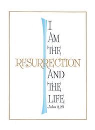 "Deceased-""I am the Resurrection"". 4-1/2"" x 6-1/8"" . 100 per box. Inside Verse:  The Holy Sacrifice of the Mass will be offered for the repose of the soul of ________ Rev_______(bottom) Cross (graphic) With the sympathy of _________ (top)"