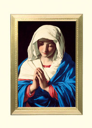 """The Virgin In Prayer Healing Mass Card- """"The Virgin in Prayer"""" Healing Mass Card ~ 4-7/8"""" x 6-3/4"""" ~ 100 per box ~ Gold Foil Embossing. Inside verse: A Spiritual Gift for Healing The Holy Sacrifice of the Mass will be offered for the intentions of  _____________ at the request of  _____________. May God's healing presence comfort you. Rev. _________________"""