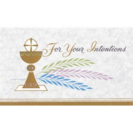 "3 5/8"" x 6 3/16"" (Gold Ink) 100 per box Inside Verse: The Holy Sacrifice of the Mass will be offered for  the intentions of _______  Rev_______ (bottom) Cross (graphic) At the request of _____ (top)"