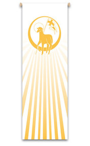 7311 Long- The Lamb of God banner creates a warm atmosphere, inspiring peace, quiet and prayer. In Raytex DM, 100% man-made. Large Banner measures 9-7/8 X 3-1/4 feet.   Finished at top with open hem; with wooden rod, two wooden apples and hanging cord Metal dowel at bottom incorporated into hem. These items are imported from Europe. Please supply your Institution's Federal ID # as to avoid an import tax.  Please allow 3-4 weeks for delivery if item is not in stock.