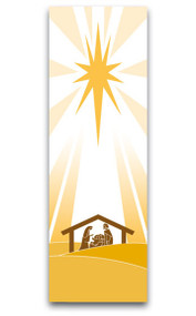 """Christmas Banner ~ creates a warm atmosphere, inspiring peace, quiet and prayer  Banners are made in Raytex DM, 100% man-made. Large Size: 9-7/8 X 3-1/4 feet. Small Size: 48"""" x 24""""  Finished at top with open hem; with wooden rod, two wooden apples and hanging cord. Metal dowel at bottom incorporated into hem. These items are imported from Europe. Please supply your Institution's Federal ID # as to avoid an import tax.  Please allow 3-4 weeks for delivery if item is not in stock."""