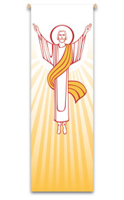 Resurrection Banner ~ creates a warm atmosphere, inspiring peace, quiet and prayer In Raytex DM, 100% man-made.  Large Size: 9-7/8 X 3-1/4 feet Finished at top with open hem; with wooden rod, two wooden apples and hanging cord Metal dowel at bottom incorporated into hem. These items are imported from Europe. Please supply your Institution's Federal ID # as to avoid an import tax.  Please allow 3-4 weeks for delivery if item is not in stock.