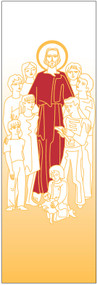 Jesus with Children Banner ~ creates a warm atmosphere, inspiring peace, quiet and prayer In Raytex DM, 100% man-made. Large Size: 9-7/8 X 3-1/4 feet Finished at top with open hem; with wooden rod, two wooden apples and hanging cord Metal dowel at bottom incorporated into hem. These items are imported from Europe. Please supply your Institution's Federal ID # as to avoid an import tax.  Please allow 3-4 weeks for delivery if item is not in stock.