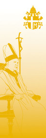 Blessed John Paul II Banner ~ creates a warm atmosphere, inspiring peace, quiet and prayer  In Raytex DM, 100% man-made. Large Size: 9-7/8 X 3-1/4 feet. Finished at top with open hem; with wooden rod, two wooden apples and hanging cord.  Metal dowel at bottom incorporated into hem.  These items are imported from Europe. Please supply your Institution's Federal ID # as to avoid an import tax.  Please allow 3-4 weeks for delivery if item is not in stock.