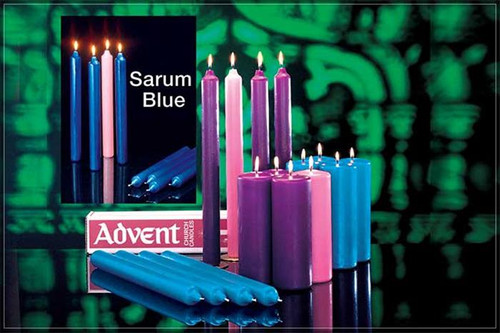 "Long burning  pillar candles or taper Advent Candles. Made especially for church advent wreaths. 51% Beeswax or Stearine. 12"" or 16"" inch tapers or Stearine 8"" or 12"" pillars. Purple & Rose, Blue & Rose or Sarum Blue & Rose combination are available"