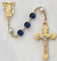 8 Millimeter Blue/Pearl Capped Rosary, Gold Plated Pewter Crucifix and Center. Deluxe Gift Box Included