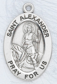"He is the Patron Saint of Soldiers, Calvary ~ Sterling silver oval medal with a 20"" genuine rhodium plated curb chain. Dimensions: 0.9"" x 0.6"" (22mm x 14mm). Weight of medal: 1.9 Grams. Medal comes in a deluxe velour gift box. Engraving option available. Made in the USA"