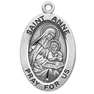 "St. Anne Patron Saint Medal ~Patron Saint of Mothers ~ Sterling silver 7/8"" oval medal with a 18"" genuine rhodium plated chain. Medal comes in a deluxe velour gift box. Engraving option available."