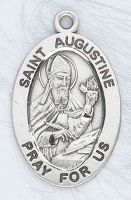 "Patron Saint of Theologians ~ Sterling silver 7/8"" oval medal with a 20"" genuine rhodium plated chain. Medal comes in a deluxe velour gift box. Engraving option available."