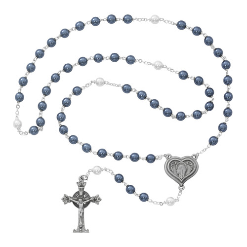 7 Millimeter Pewter Blue and Pearl Rosary. Lourdes Holy Water Center. Deluxe Gift Box Included