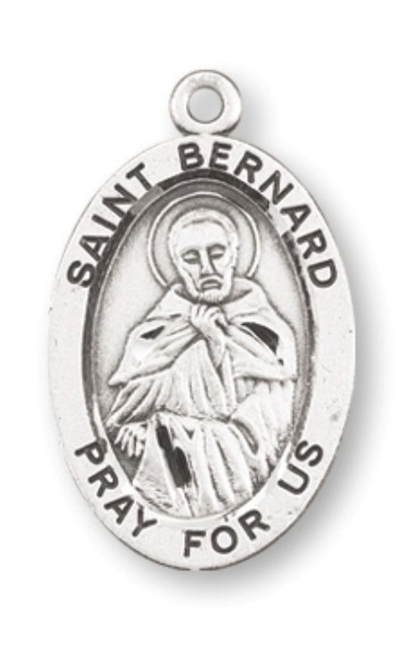 """Sterling silver St Bernard 7/8"""" oval medal. St Bernard medal comes with a 20"""" Genuine rhodium plated curb chain. Medal comes in a deluxe velour gift box. Engraving option available. Made in the USA."""