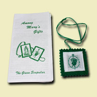 """The devotion of the sacramental of the green scapular is especially used for conversions and is greatly needed today.  This scapular is encased in plastic and is on a green cord. It includes a leaflet """"Among Mary's Gifts"""" explaining the history of the devotion."""