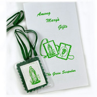 Laminated Green Scapular & Instruction  Pamphlet. Our Green Scapular has been protected in soft flexible plastic with rounded edges and smooth heat sealed edges for comfortable wear. With the flexible plastic the Green Scapular measures 2.13 by 1.75 inches. When you order the Green Scapular you will also receive a handy pamphlet titled 'Among Mary's Gifts, The Green Scapular.' This pamphlet goes more in depth about the story and history of the Green Scapular and the devotions to the Green Scapular and Mary.