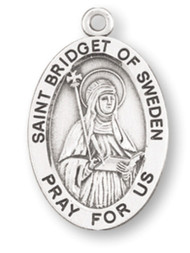 "Patron Saint of Widows - Sterling silver, 7/8"" oval medal with a 18"" genuine rhodium plated chain. Medal comes in a deluxe velour gift box. Engraving option available."