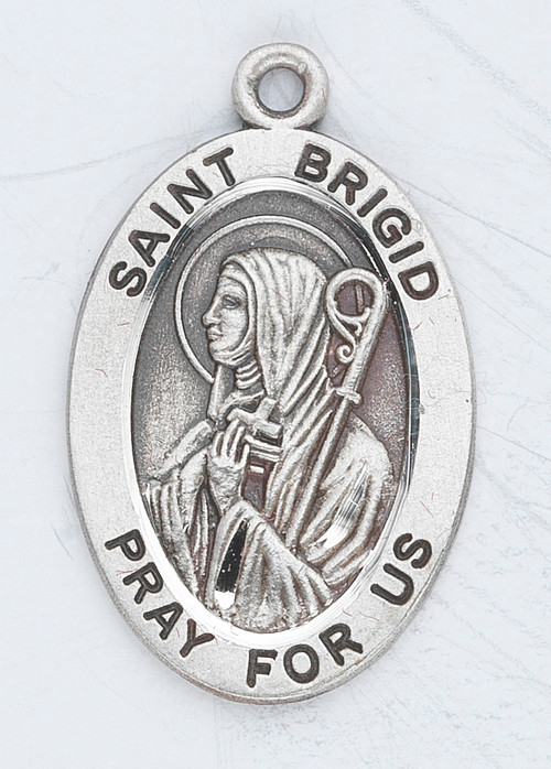"Patron Saint of Ireland, Travelers, Babies, Midwives. Sterling silver, 7/8"" oval medal with a 18"" genuine rhodium plated chain. Medal comes in a deluxe velour gift box. Engraving option available."
