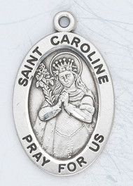"Patron Saint of learning, teachers, and students. Sterling silver, 7/8"" oval medal with a 18"" genuine rhodium plated chain. Medal comes in a deluxe velour gift box. Engraving option available."