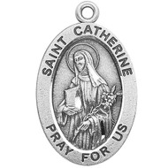 "Patron Saint Against Fires, Bodily Ills, The Diocese of Allentown, Pennsylvania, Patron of the USA, Europe, Firefighters, Miscarriages. Sterling silver, 7/8"" oval medal with a 20"" genuine rhodium plated chain. Medal comes in a deluxe velour gift box. Engraving option available."