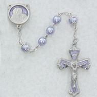 7 Millimeter Lavender Pearl Rosary  Lavender Enameled Rhodium Cucifix and Center  Deluxe Gift Box Included