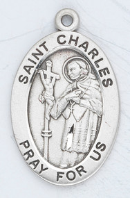 "St. Charles of Borromeo is the Patron Saint of Seminarians, Learning and the Arts ~ Sterling silver, 7/8"" oval medal with a 20"" genuine rhodium plated chain. Medal comes in a deluxe velour gift box. Engraving option available."