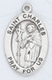 """St. Charles of Borromeo is the Patron Saint of Seminarians, Learning and the Arts ~ Sterling silver, 7/8"""" oval medal with a 20"""" genuine rhodium plated chain. Medal comes in a deluxe velour gift box. Engraving option available."""