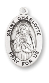"Patron Saint of Crochet - This Carmelite Sister was executed during the French Revolution and martyred. Sterling silver, 7/8"" oval medal with a 20"" genuine rhodium plated chain. Medal comes in a deluxe velour gift box. Engraving option available."