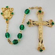 Gold Plated Pewter Rosary is constructed of  7mm green glass beads. St. Patrick Centerpiece and Crucifix with Green Shamrocks at top, bottom and sides of cross. Deluxe Gift Box Included. Lifetime guarantee!