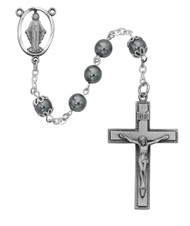 7 Millimeter Imitation Hematite Bead  Rosary. Pewter Crucifix and Center. Deluxe Gift Box Included
