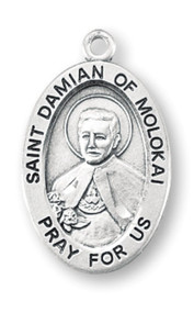 """Patron Saint of lepers, outcasts, HIV/AIDs victims ~ Sterling silver oval medal with a 18"""" genuine rhodium plated curb chain. Dimensions: 0.9"""" x 0.6"""" (22mm x 14mm). Weight of medal: 1.9 Grams. Medal comes in a deluxe velour gift box. Engraving option available. Made in the USA 19th century priest who ministered to lepers on the Hawaiian island of Molokai. Canonized by Pope Benedict XVI on October 11, 2009, Saint Damian, Jozef De Veuster was born in Belgium and became a Roman Catholic priest of the missionary religious order, the Sacred Hearts of Jesus and Mary. He became recognized for his ministry to people with leprosy (Hansen's disease), who had been placed under a government-sanctioned medical quarantine on the island of Molokai in then Kingdom of Hawaii. After sixteen years caring for the physical, spiritual and emotional needs of those in the leper colony, he eventually contracted and died of the disease, and is widely considered a """"martyr of charity"""". He is the ninth person recognized as a saint by the Catholic Church to have lived, worked, and died in what is now the United States. The Congregation of the Sacred Hearts of Jesus and Mary"""