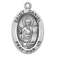 "Patron Saint of Prisoners and Jails - Sterling silver oval medal with a 20"" genuine rhodium plated curb chain. Dimensions: 0.9"" x 0.6"" (22mm x 14mm). Weight of medal: 1.9 Grams. Medal comes in a deluxe velour gift box. Engraving option available. Made in the USA"