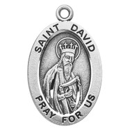 "Patron Saint of Poets ~ Sterling silver, 7/8"" oval medal with a 20"" genuine rhodium plated chain. Medal comes in a deluxe velour gift box. Engraving option available."