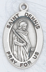 "Patron Saint of Headaches, Rabies & Possessed People ~ Sterling silver 7/8"" oval medal with a 20"" genuine rhodium plated chain. Medal comes in a deluxe velour gift box. Engraving option available."