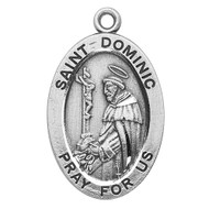 "Patron Saint of Astronomers, Astronomy, Founder of the Dominican Order - Sterling silver 7/8"" oval medal with a 20"" genuine rhodium plated chain. Medal comes in a deluxe velour gift box. Engraving option available."
