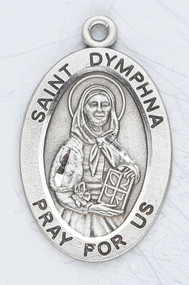 "Saint Dymphna, St. Dymphna, Dymphna, Patron Saint of Mental Illnesses, mental illness.  Sterling silver 7/8"" oval medal with a 18"" genuine rhodium plated chain. Medal comes in a deluxe velour gift box. Engraving option available."