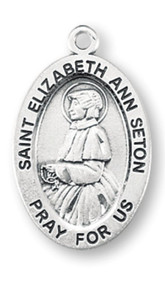 "Patron Saint of death of children, loss of parents, opposition of Church authorities, people ridiculed for their piety, widows. Sterling silver 7/8"" oval medal with a 18"" genuine rhodium plated chain. Medal comes in a deluxe velour gift box. Engraving option available."