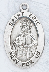 "Patron Saint of Stockholm and Sweden- Sterling silver 7/8"" oval medal with a 20"" genuine rhodium plated chain. Medal comes in a deluxe velour gift box. Engraving option available."