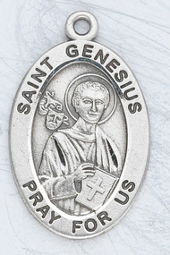 "Patron Saint of actors, comedians, and clowns. Sterling silver 7/8"" oval medal with a 20"" genuine rhodium plated chain. Medal comes in a deluxe velour gift box. Engraving option available."
