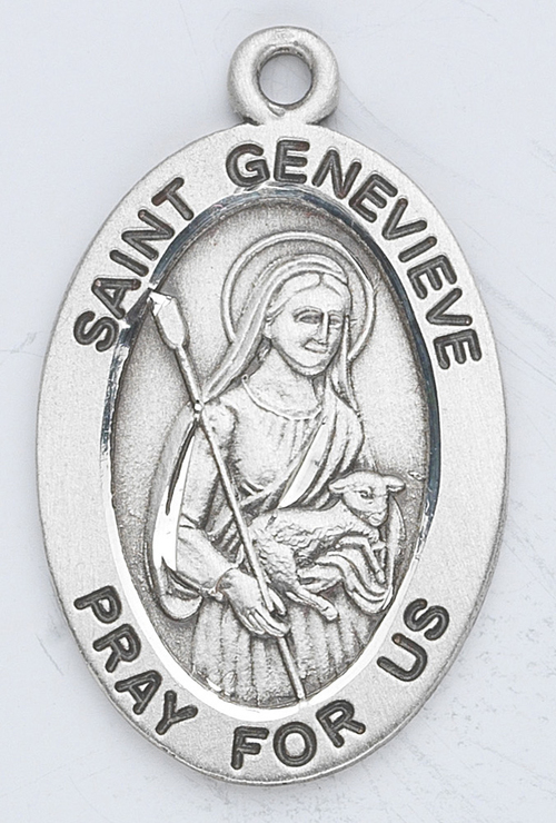 "Patron Saint of natural disasters, Paris, and fevers. Sterling silver 7/8"" oval medal with a 18"" genuine rhodium plated chain. Medal comes in a deluxe velour gift box. Engraving option available."