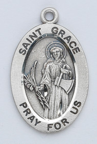 "Patron Saint of Spain- Sterling silver 7/8"" oval medal with an 18"" genuine rhodium plated chain. Comes in a deluxe velour gift box. Engraving option available."