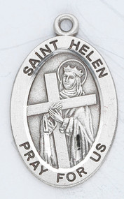 "Patron Saint of Archeologists and Converts- St Helen Sterling silver oval medal with a 18"" genuine rhodium plated curb chain. Dimensions: 0.9"" x 0.6"" (22mm x 14mm). Weight of medal: 1.9 Grams. Medal comes in a deluxe velour gift box. Engraving option available. Made in the USA"