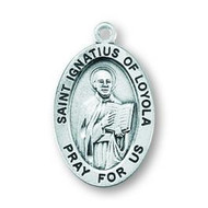 "Patron Saint of Catholic soldiers and Jesuits. Sterling silver oval medal with a 20"" genuine rhodium plated curb chain. Dimensions: 0.9"" x 0.6"" (22mm x 14mm). Weight of medal: 1.9 Grams. Medal comes in a deluxe velour gift box. Engraving option available. Made in the USA"