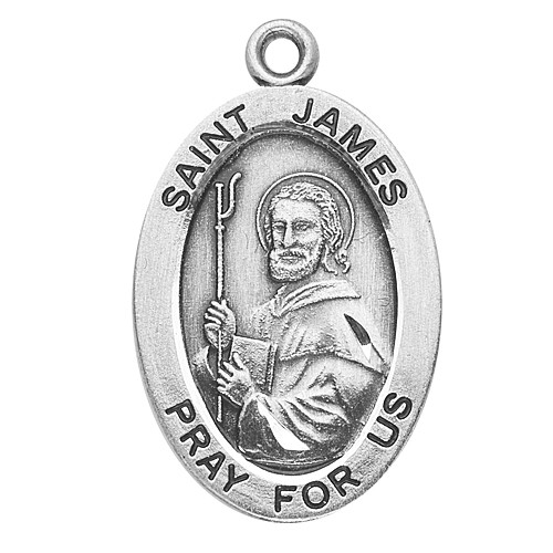 """Sterling silver 7/8"""" oval medal with a 20"""" genuine rhodium plated chain.  Comes in a deluxe velour gift box. Engraving option available. Patron Saint of Spain, James was one of only three called by Jesus to witness his Transfiguration and it is believed that he was the first disciple to be martyred."""