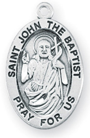 """7/8"""" oval sterling silver  medal with a 20"""" genuine rhodium plated chain.  Dimensions: 0.9"""" x 0.6"""" (22mm x 14mm).  Weight of medal: 1.9 Grams. Comes in a deluxe velour gift box. Engraving option available. Patron Saint of Baptism, Bird Dealers, Converts, Epilepsy, Monastic Life, Tailors."""
