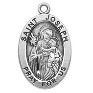 "7/8"" sterling silver oval medal with a 20"" genuine rhodium plated chain. Comes in a deluxe velour gift box. Engraving option available. Patron Saint of Fathers, Carpenters, Real Estate Matters and Home Sales."