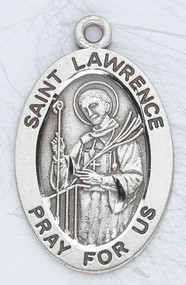 """7/8"""" Sterling Silver medal portrays St. Lawrence with Palms holding a Grill.  A 20"""" rhodium plated curb chain and medal comes in a deluxe velour gift box. Engraving option available. Patron Saint of  Cooks and the Poor. Known for his sense of humor in the face of adversity. Look up his bio to see why he holds the grill! Dimensions: 0.9"""" x 0.6"""" (22mm x 14mm) Weight of medal: 1.9 Grams."""