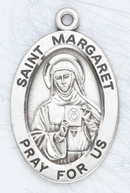 """Sterling silver 7/8"""" oval medal with a 20"""" genuine rhodium plated chain. Comes in a deluxe velour gift box. Engraving option available. Patron Saint of Polio, Loss of Parents, Devotees to the Sacred Heart"""